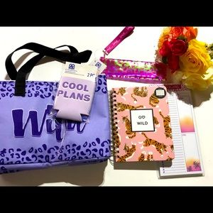 Cheetah Print Purple Lunch Bag Note Gift Set